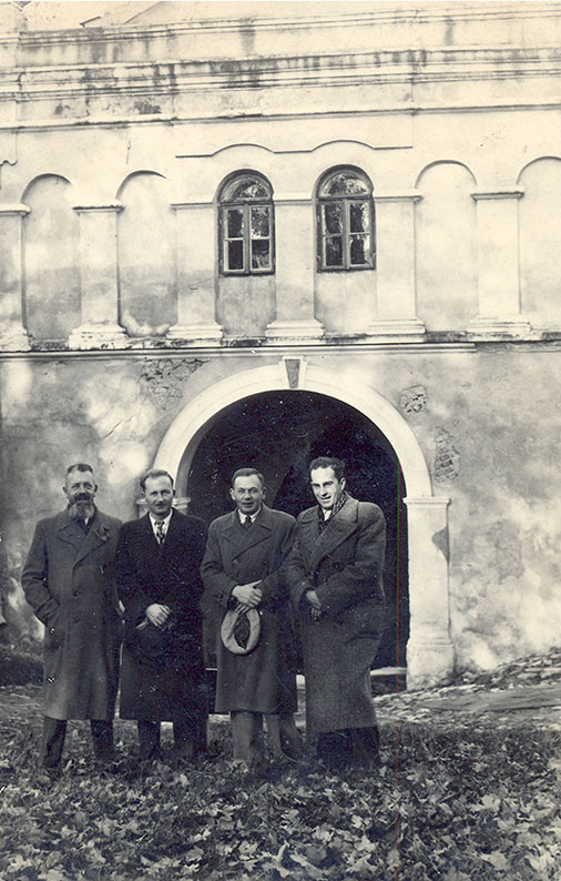 Ryszard Siwiec (standing second from the left) with employees of the Tax Office, Przemyśl, 1937