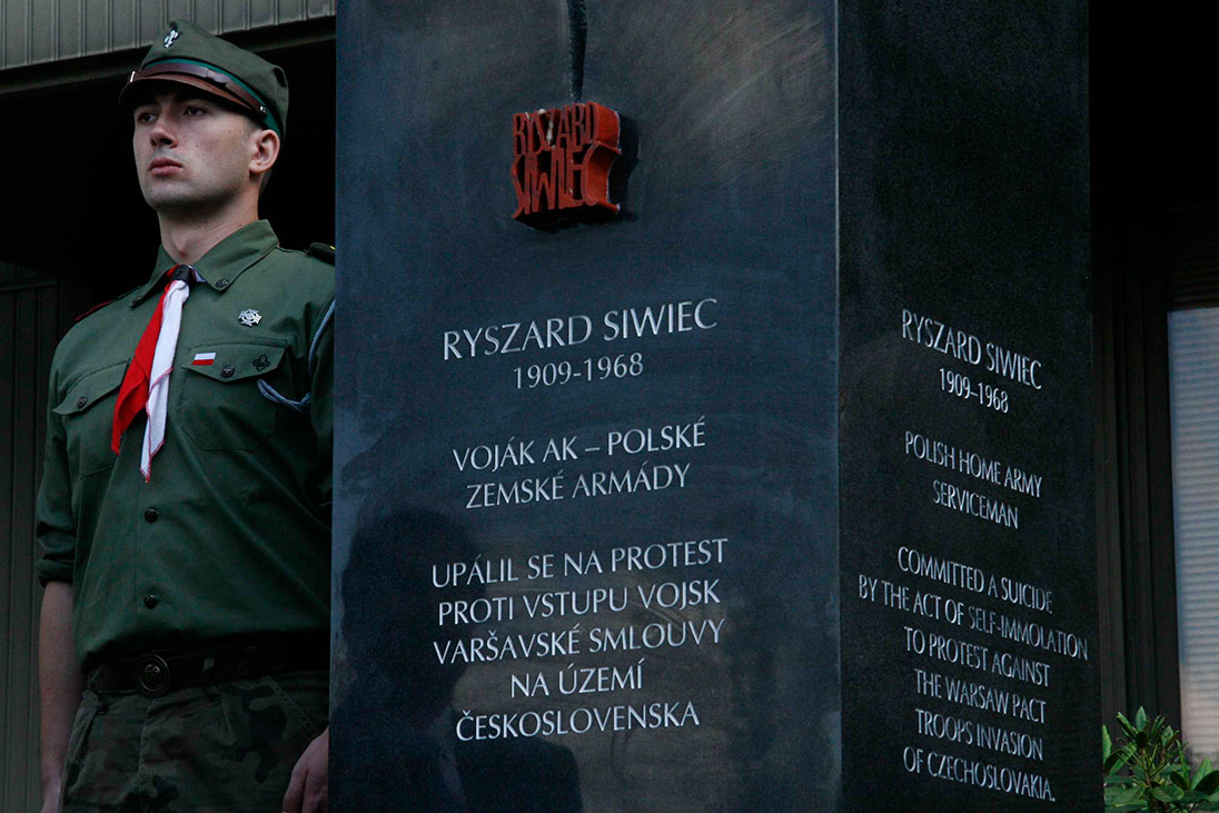 Unveiling the monument of Ryszard Siwiec, 20th June 2010